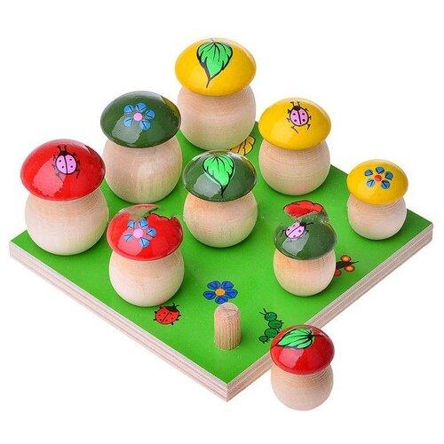 Развивающая игрушка Русская народная игрушка Грибы на поляне, 9 шт зеленый/красный/желтый/бежевый фото