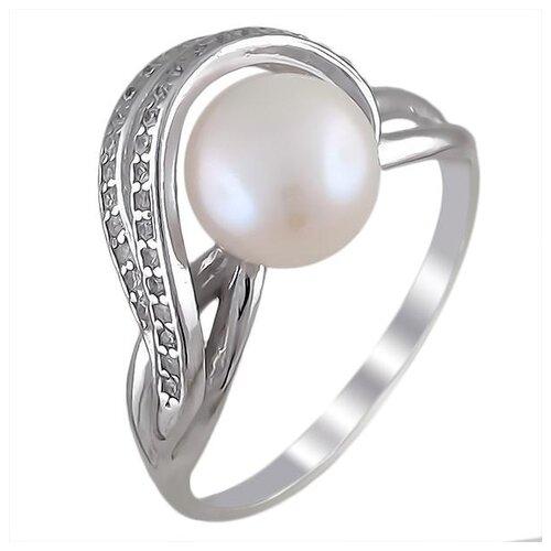 Эстет Кольцо с жемчугом и фианитами из серебра Л9К357724Д, размер 19 фото