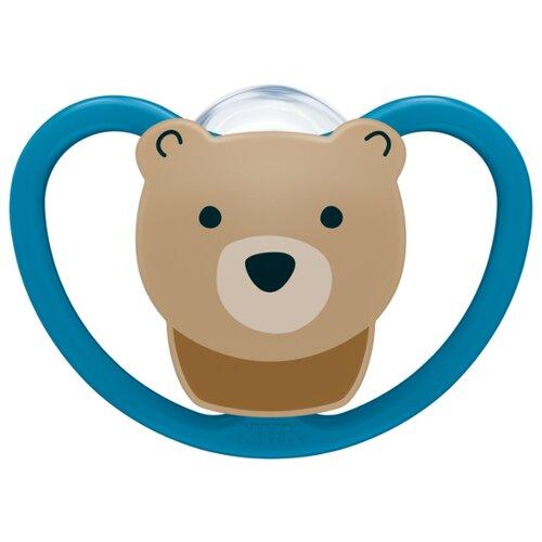 Купить Пустышка силиконовая ортодонтическая NUK Space 6-18 м (1 шт) медведь, Пустышки и аксессуары