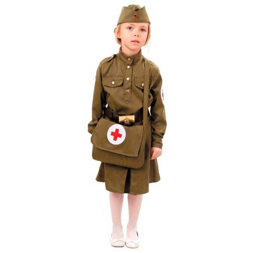 Купить Костюм пуговка Военная медсестра (2038 к-18), хаки, размер 140, Карнавальные костюмы