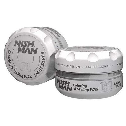 NISH MAN Воск C1 Lightsilver Hair Premium Coloring Wax, сильная фиксация, 150 мл