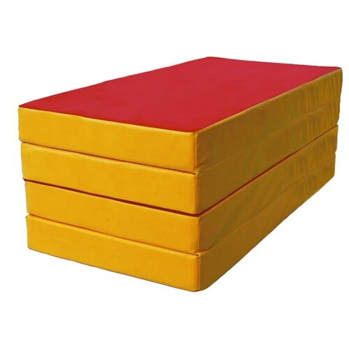Спортивный мат 2000х1000х100 мм КМС № 5 красный/желтый