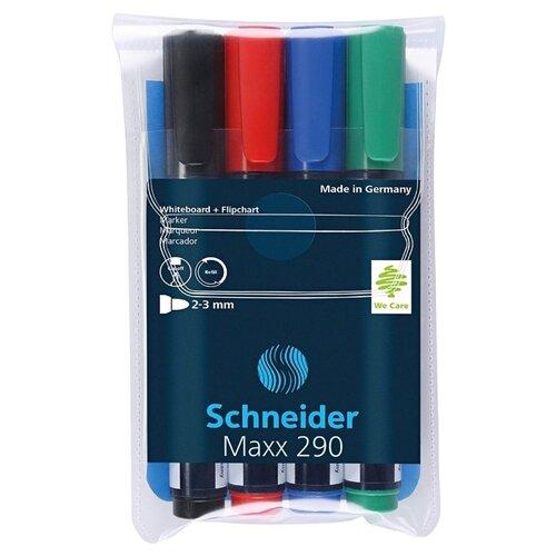 Купить Schneider Набор маркеров для белой доски и флипчарта Maxx 290 (129094), 4 шт., Маркеры
