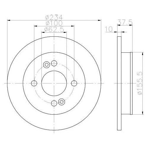 цена на Тормозной диск задний Valeo R2050 234x10 для Kia Picanto