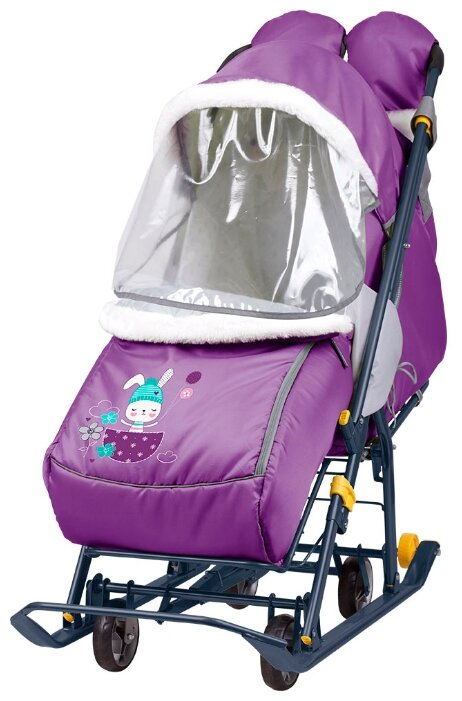 Купить Санки-коляска Nika Наши детки 2 (НДТ2) с зайчонком черничный по низкой цене с доставкой из Яндекс.Маркета (бывший Беру)