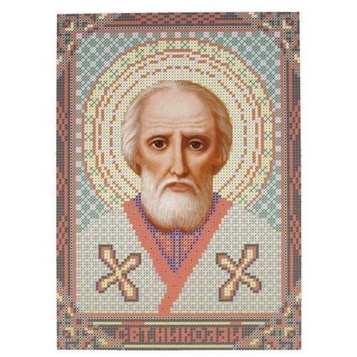 Купить Канва для вышивания с рисунком NOVA SLOBODA Св. Николай Чудотворец БИС-9013, многоцветный 21 х 30 см