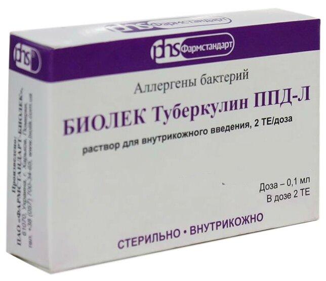 Биолек туберкулин ппд-л р-р для внутрикож. введ. 2те/доза амп. 1мл (10 доз по 2те в 0,1мл) №1