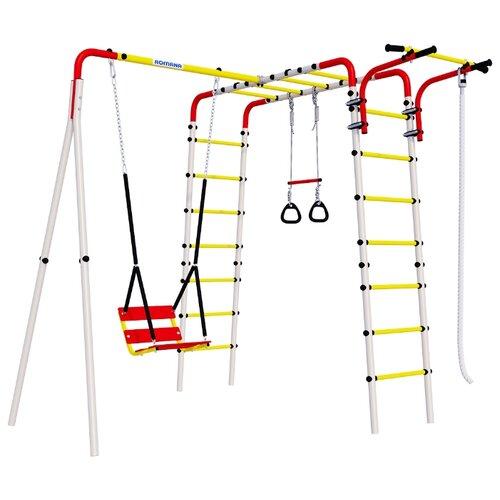 Спортивно-игровой комплекс ROMANA Весёлая лужайка-2 + цепные качели белый/желтый/красный