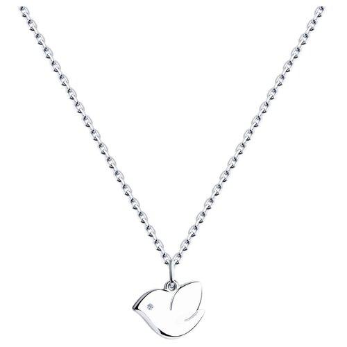 SOKOLOV Колье из серебра с бриллиантом 87070013, 40 см, 3.68 г sokolov колье из серебра с бриллиантом 87070015 40 см 3 54 г