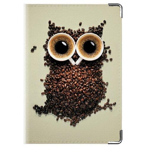 Обложка для паспорта MADAPRINT Кофейная сова 100% натуральная овечья кожа