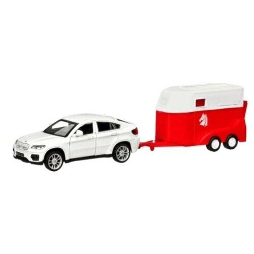 Купить Легковой автомобиль Автопанорама BMW X6 c прицепом для перевозки лошадей (JB1251175) 1:43 22 см белый, Машинки и техника