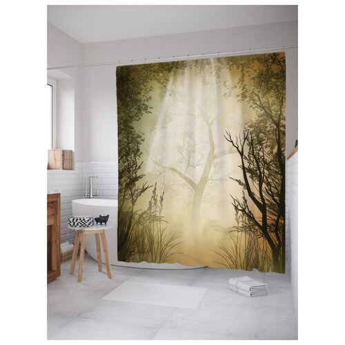 Штора для ванной JoyArty Туманные деревья 180х200 (sc-19678) разноцветный
