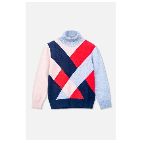 Свитер playToday размер 128, бежевый/темно-синий/темно-красный куртка playtoday 393022 размер 128 темно синий