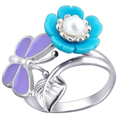 Эстет Кольцо с бирюзой, жемчугом и эмалью из серебра 01К3511257Э-1, размер 16 эстет кольцо с 1 эмалью из серебра 01к0511224э размер 16