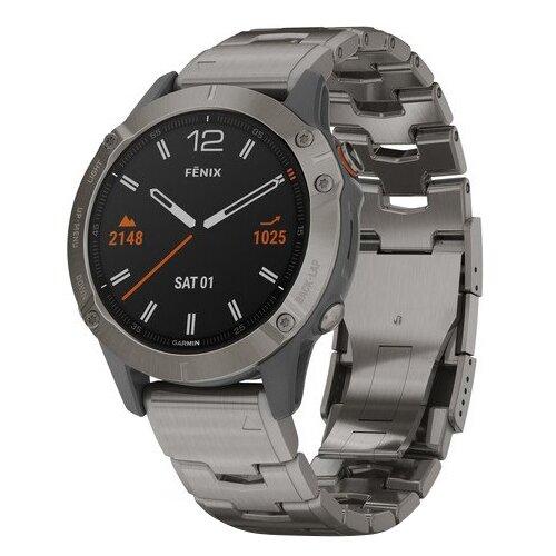 Умные часы Garmin Fenix 6 Sapphire титановый с титановым браслетом, серебристый умные часы garmin fenix 6x pro solar титановый с титановым браслетом серый