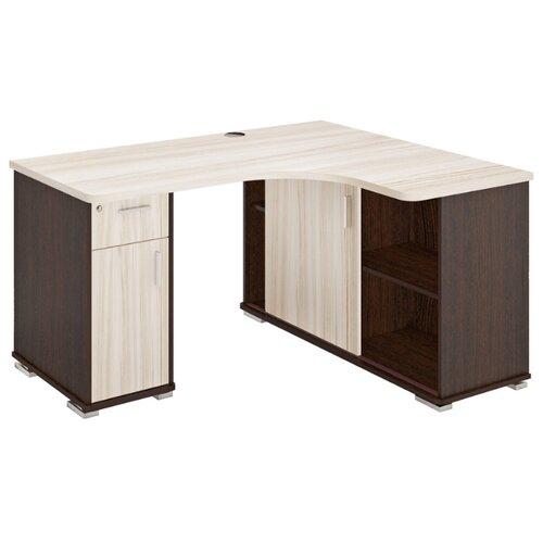 Компьютерный стол угловой Мэрдэс Домино СР-140М, ШхГ: 140х116 см, угол: справа, цвет: венге/карамель/карамель