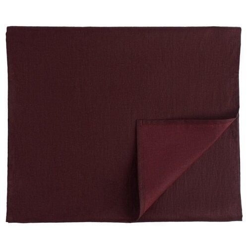 Дорожка на стол Tkano из умягченного льна с декоративной обработкой бордового цвета Essential, 45х150 см