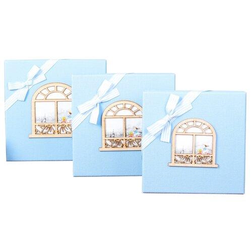 Набор подарочных коробок Yiwu Zhousima Crafts квадратные, 3 шт. голубой
