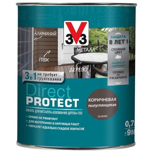 Эмаль алкидная (А) V33 Direct Protect 1138 коричневый 0.75 л