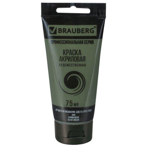 Купить BRAUBERG Краска акриловая художественная Профессиональная серия 75 мл оливковая, Краски
