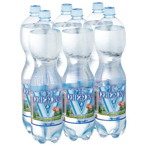 Вода минеральная Сенежская газированная, ПЭТ, 6 шт. по 1.5 л