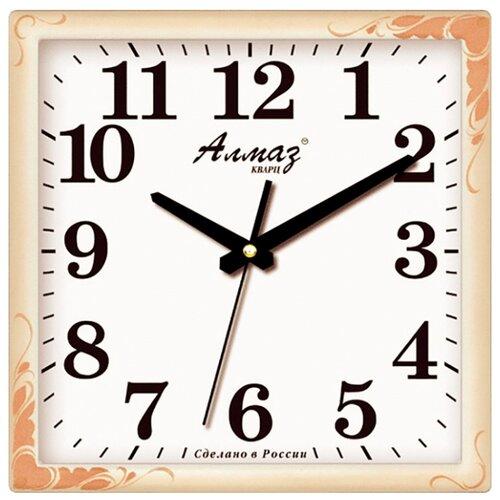 Часы настенные кварцевые Алмаз K03 бежевый/белый часы настенные кварцевые алмаз p34 бежевый белый