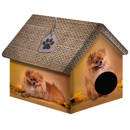 Домик для собак и кошек PerseiLine Померанский шпиц 33х33х40 см коричневый