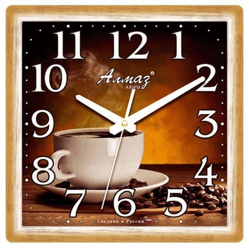 Часы настенные кварцевые Алмаз M26 бежевый/темно-коричневыйЧасы настенные<br>
