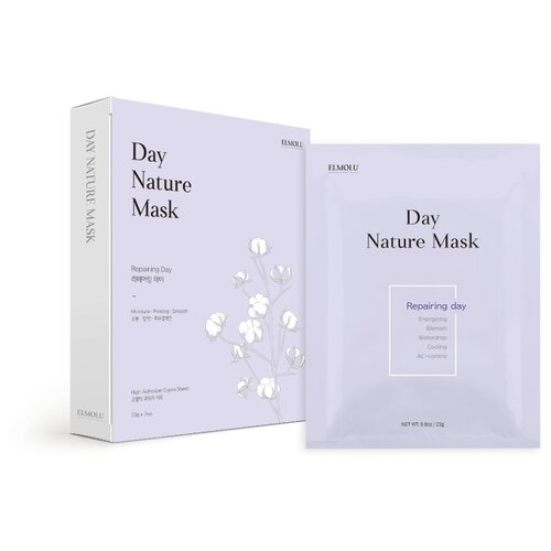 ELMOLU тканевая маска восстанавливающая Day Nature Mask Repairing day, 23 г, 7 шт. elmolu тканевая маска наполняющая энергией day nature mask energizing day 23 г 7 шт
