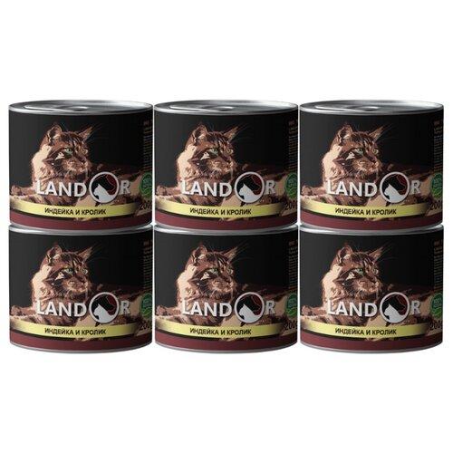 Корм для кошек Landor с индейкой, с кроликом 6шт. х 200 г корм для кошек landor тунец