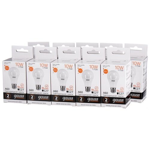 Упаковка светодиодных ламп 10 шт gauss 23210, E27, A60, 10Вт упаковка светодиодных ламп 10 шт gauss 53210 e27 10вт