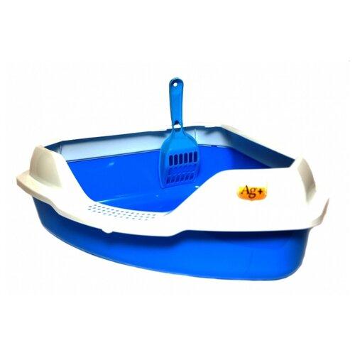 Туалет-лоток для кошек Homecat 65115/65116/65117/3156319/3516333/3516326/3516302 56х42х18 см голубой