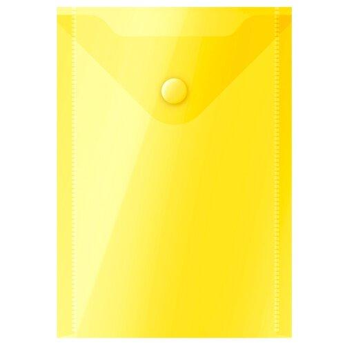 Купить OfficeSpace Папка-конверт на кнопке А6, пластик 150 мкм желтый, Файлы и папки