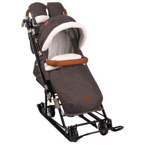 Санки-коляска Nika Ника Детям 7-8 (НД7-8) в елочку коричневый nika kids санки коляска ника детям умка 3 3 принт вязаный