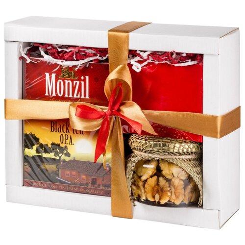 Чай черный Monzil, арахис жареный в корице и грецкий орех в меду С наилучшими пожеланиями, подарочный набор, 100 г настоящая пища жареный пекан в меду 8 унций 227 г
