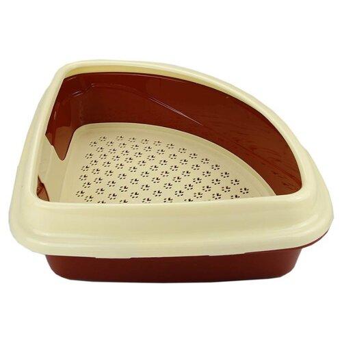 Туалет-лоток для кошек Dogman Триплекс угловой 40х40х15 см коричневый/бежевый