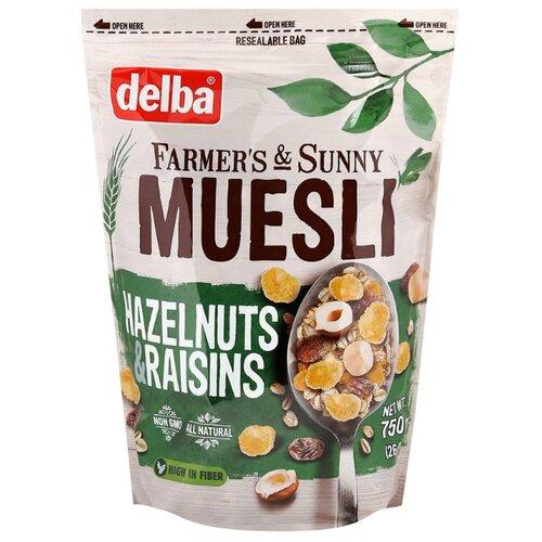 Мюсли Delba мультизлаковые с фундуком и изюмом, дой-пак, 750 г мюсли matti хлопья и шарики с орехом и яблоком дой пак 250 г