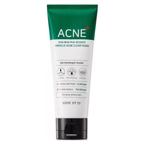 Some By Mi Очищающая пенка AHA-BHA-PHA 30 days miracle acne clear foam, 100 мл, с дозатором