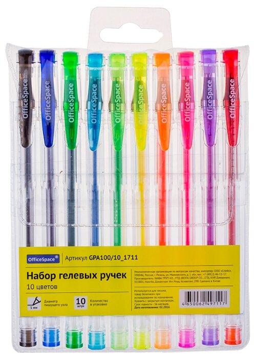 Officespace набор гелевых ручек 10 цветов, 1,0 мм (GPA100/10_1711)