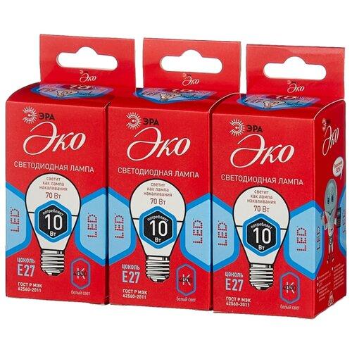Упаковка светодиодных ламп 3 шт ЭРА Б0032971, E27, P45, 10Вт упаковка светодиодных ламп 3 шт эра б0032997 gu10 mr16 10вт
