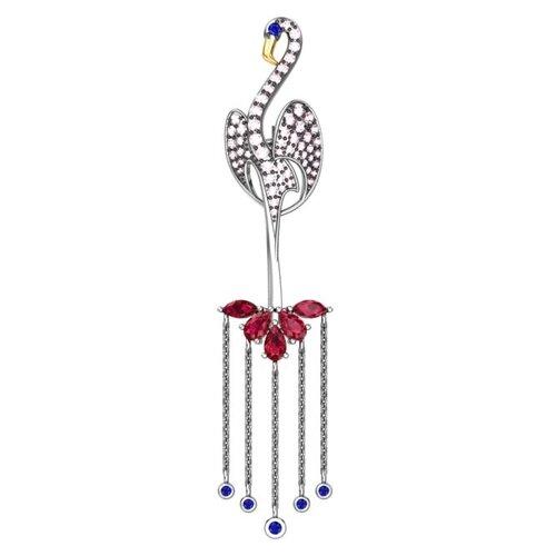 брошь фламинго POKROVSKY Серебряная брошь «Фламинго» с кварцем и фианитами 2720842-04055