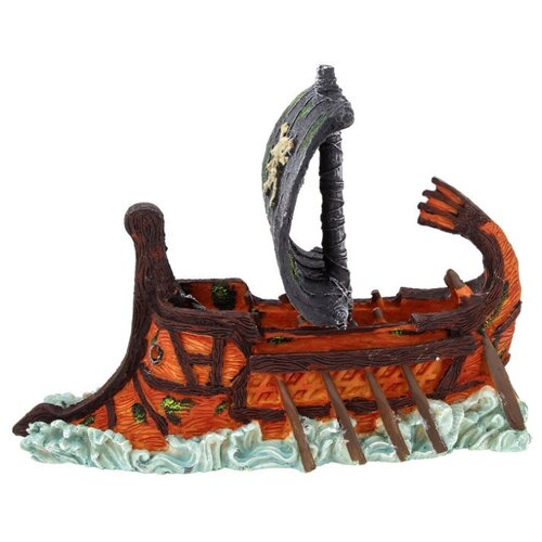 Фигурка для аквариума Prime Затонувший пиратский корабль 27.5х9.5х14 см оранжевый/серый/коричневый