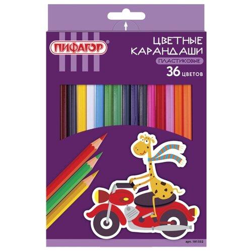 Пифагор Карандаши цветные Жираф 36 цветов (181332) восковые карандаши пифагор 12 цветов 222962