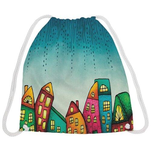 Купить JoyArty Рюкзак-мешок Волшебный город (bpa_27338) голубой/зеленый/желтый, Мешки для обуви и формы