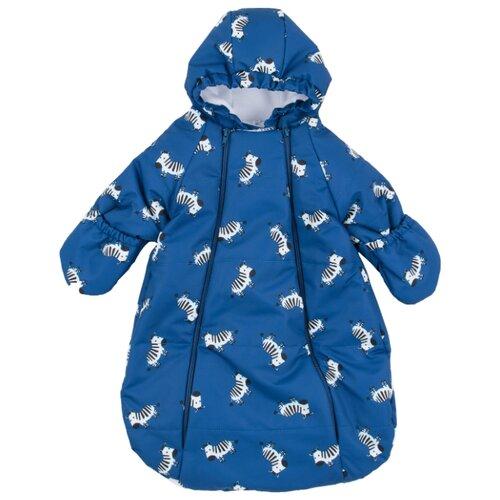 Купить Конверт-мешок Leader Kids с рукавами и капюшоном Зебры синий 62-68 см, Конверты и спальные мешки