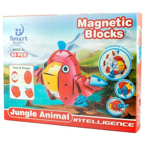 Магнитный конструктор Smart Builders Magnetic Blocks 302 Животные тропического леса library builders