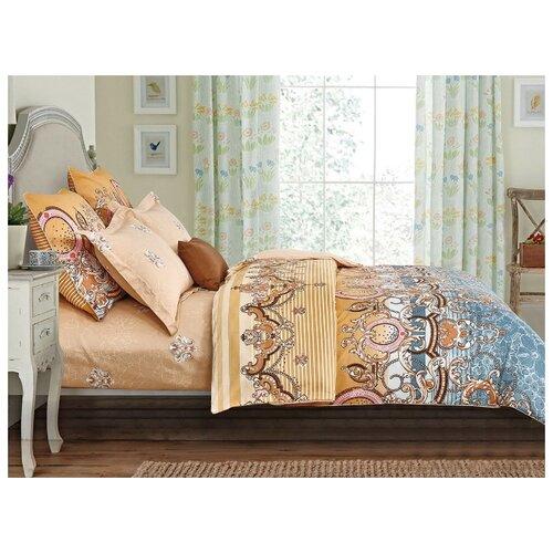 Постельное белье 1.5-спальное Cleo Satin Lux 321-SL, сатин, 70 х 70 см коричневый/синий постельное белье cleo satin lux 15 321 sl комплект 1 5 спальный сатин