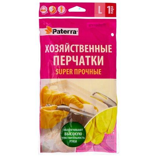 Перчатки Paterra хозяйственные Super прочные, 1 пара, размер L, цвет желтый