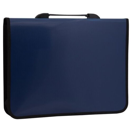 Купить OfficeSpace Папка-портфель 1 отделение, 2 кармана, A4+, на двух замках синий, Файлы и папки