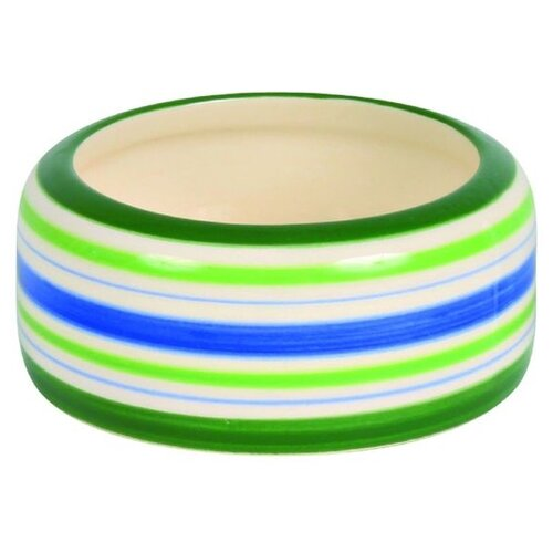 Миска TRIXIE 60805 для грызунов, 50 мл зеленый/синий/кремовый